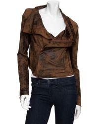 Georgie - Julia Distressed Moto Jacket: Brown - Lyst