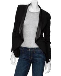 Mason by Michelle Mason Blazer with Leather Lapels black - Lyst
