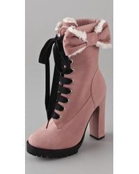 RED Valentino Lace Up High Heel Boots - Lyst