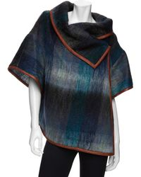 SUNO - Mohair Leather Trim Plaid Cape - Lyst