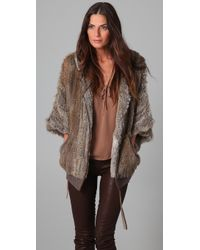 HHH by Haute Hippie - Fur Bunny Cape Jacket - Lyst