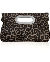 MICHAEL Michael Kors Animal-print Calf Hair Clutch - Lyst