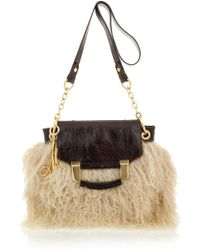MILLY | Kiki Shearling and Patent-leather Bag | Lyst