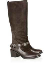 Philosophy di Alberta Ferretti Suede and Leather Knee Boots - Lyst