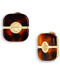 Tory Burch Split Plate Logo Clip Earrings - Lyst