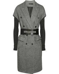 Elizabeth And James Belted Herringbone Wool-blend Coat - Lyst