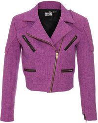 House of Holland Structured Harris Tweed Biker Jacket - Lyst