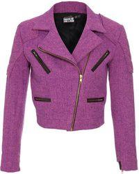 House of Holland Structured Harris Tweed Biker Jacket purple - Lyst