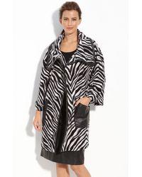 Lafayette 148 New York Leather Trim Zebra Pattern Coat - Lyst