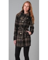 Rachel Zoe Wrap Collar Tweed Coat - Lyst