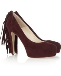 Brian Atwood Fringed Suede Platform Pumps - Lyst