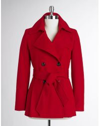 Via Spiga Petites Double Breasted Short Trench Coat - Lyst