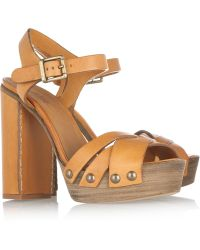 Chloé Leather and Wooden Sandals - Lyst