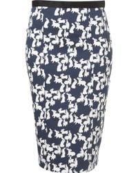 Topshop Rabbit Print Pencil Skirt - Lyst