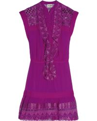Alice By Temperley Mini Giselle Embroidered Silk-crepe Dress - Lyst