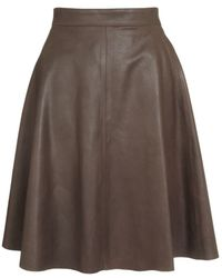 Harrods - Fit and Flare Leather Skirt - Lyst