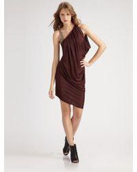VPL Draped One-shoulder Dress - Lyst