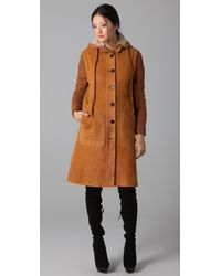 McQ by Alexander McQueen Knitted-sleeve Shearling Hooded Coat - Lyst