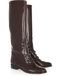Carven - Ursule Glossed-leather Brogue Boots - Lyst