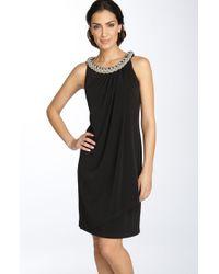 Donna Ricco Chain Neck Matte Jersey Shift Dress - Lyst