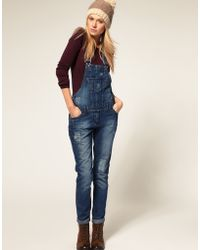 ASOS Collection Asos Denim Dungaree with Patch Detail - Lyst