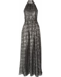 Halston Heritage Halterneck Metallic Silk-blend Jacquard Gown - Lyst