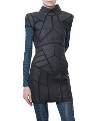 Gareth Pugh Neoprene and Jersey Short Sleeved Dress black - Lyst
