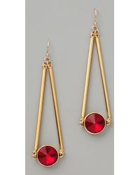 Gemma Redux - Siam Red Crystal Drop Earrings - Lyst