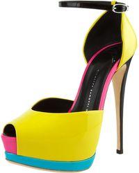 Giuseppe Zanotti Neon Colorblock Platform Dorsay - Lyst