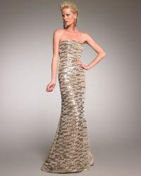 Oscar de la Renta Beaded Metallic Gown - Lyst