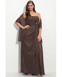 JS Collections Strapless Chiffon Gown (plus) - Lyst