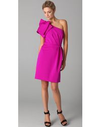 Lela Rose Folded One Shoulder Dress - Lyst