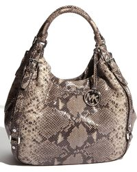 MICHAEL Michael Kors Bedford - Large Python Embossed Tote - Lyst