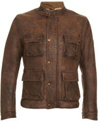 Belstaff Shearling Moto Jacket - Lyst