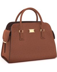 Michael Kors Gia Ostrich-embossed Leather Satchel, Cinnamon - Lyst