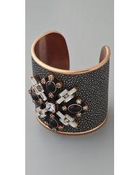 Tory Burch Multi Jeweled Leather Cuff - Lyst