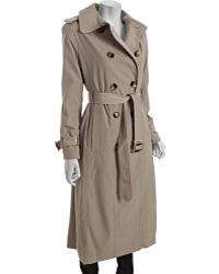 London Fog Toffee Double Breasted Belted Long Trench - Lyst