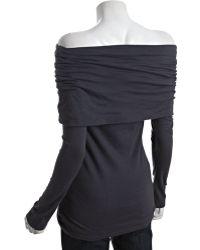 Rebecca Beeson - Smoke Grey Cotton Oversize Cowl Neck Tunic - Lyst