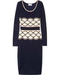 Temperley London Kythira Metallic Intarsia Silk-blend Dress blue - Lyst
