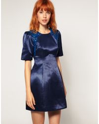 ASOS Collection ABlack Shift Dress with Shoulder Beading - Lyst