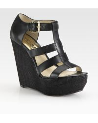 MICHAEL Michael Kors Faye Leather Wedge Sandals - Lyst