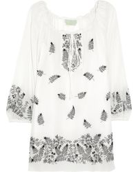 Leaves Of Grass - Theda Embroidered Silk Top - Lyst