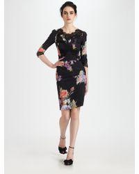 Dolce & Gabbana Lace-Trimmed Silk Dress - Lyst