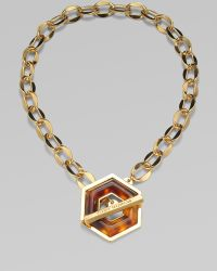 Tory Burch 16k Goldplated Resin Hexagon Toggle Necklace - Lyst