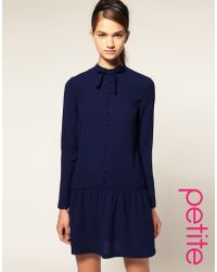 ASOS Collection Asos Petite Drop Waist Dress with Pussy Bow - Lyst