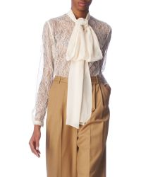 By Malene Birger Lace Pussybow Blouse - Lyst