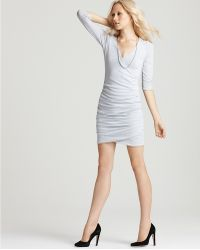James Perse Three Quarter Sleeve Fitted Dress - Lyst