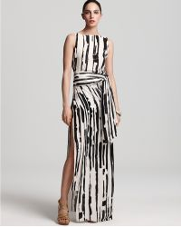 Max Azria Sleeveless Deconstructed Stripe Print Wrap Dress white - Lyst