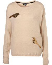 Topshop Knitted Sequin Bird Sweat - Lyst
