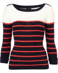 Topshop Knitted Stripe Rib Slash Top - Lyst